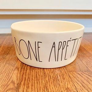 "Rae Dunn XL 8"" dog bowl BONE APPETIT"